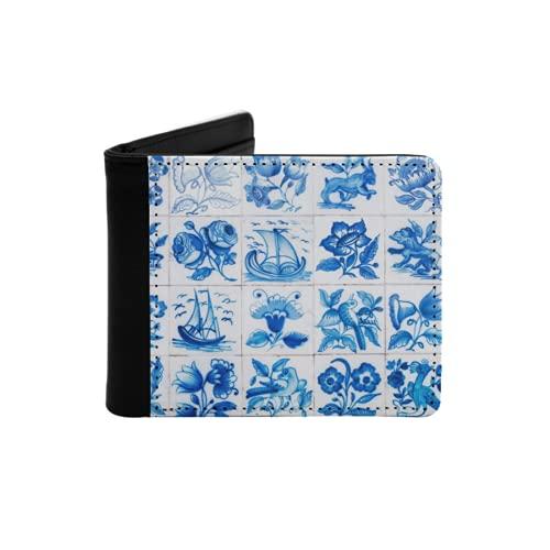 Cartera Delgada de Cuero para Hombre,Azulejos Decorativos portugueses ornamentados Tradicionales Azulejos,Cartera Minimalista con Bolsillo Frontal Plegable
