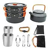 IUwnHceE Utensilios de Cocina de Camping al Aire Libre Kit Backpacking cocinando con Mango Naranja Tetera Cacerola Copa Tenedor Cocinar Pan de Pesca Artículos para el hogar Montañismo