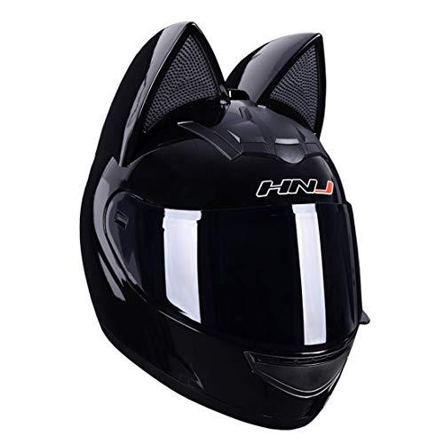Casco de motocicleta con decoración de orejas de gato, diseño personalizado creativo, casco de motocicleta Samurai frontal abatible, hombres y mujeres, adulto, aprobado por ECE-DOT