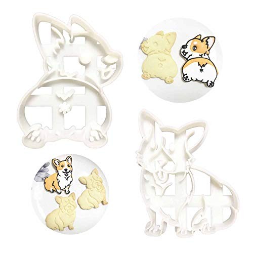Corgi Cookie Cutters Cute Plastic Shape Mold 2pcs Set