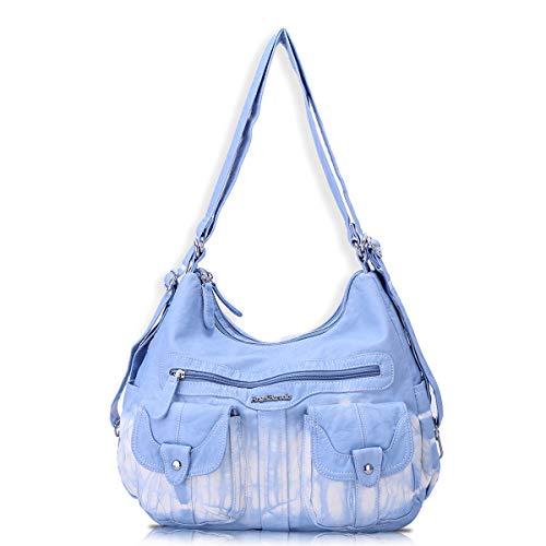 Angel Barcelo Frauen Multifunktionale Handtasche aus weichem Leder Geldbörsen Schulter Hobo Rucksack Umhängetasche mit Tasche Hellblau