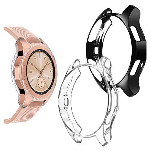 wlooo Samsung Galaxy Watch 42mm Hülle, (2 Stück) 360°Rundum Weiche TPU Bumper Silikon Schutzhülle HD Ultradünne Stoßfest Schutz Case Cover für Samsung Galaxy Watch 42mm (42mm, Transparent + Schwarz)