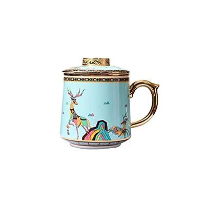 Porcelain Tea Infuser Mug - Chinese Jingdezhen Ceramics Coffee Mug Tea cup Loose Leaf Tea Brewing System for Home Office