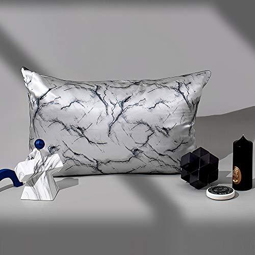 THXSILK - Funda de almohada de seda y Lyocell, con diseño de fresa, 50 x 75 cm, color gris mármol, 50 x 75 cm