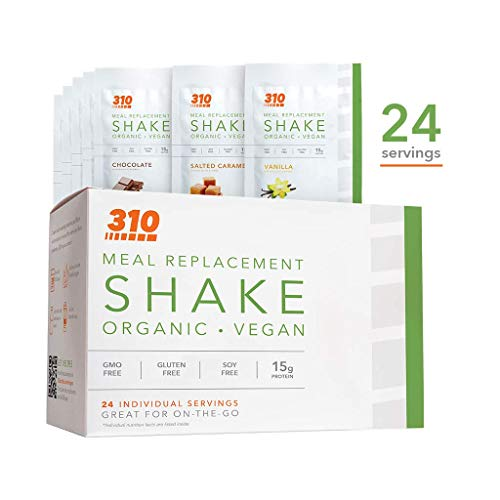 24 CT Organic Shake Box - Vegan Plant Protein Powder and Meal Replacement Shake - By 310 Nutrition - Gluten, Dairy and Soy Free - 0g of Sugar | Keto and Paleo Friendly (Variety)