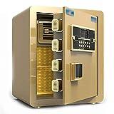 WSMLA Caja fuerte de seguridad electrónica, biométrico de huellas digitales delantero Depósito de carga Caja fuerte con bóveda gota efectivo con la huella digital táctil Cabeza (Color : Gold)