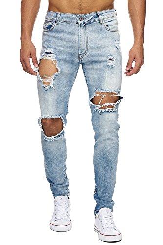 Megastyl Herren Hose Ripped Jeans Eisblau Slim-Fit Stretch-Denim, Farbe:Hellblau, Größe:W28 / L32
