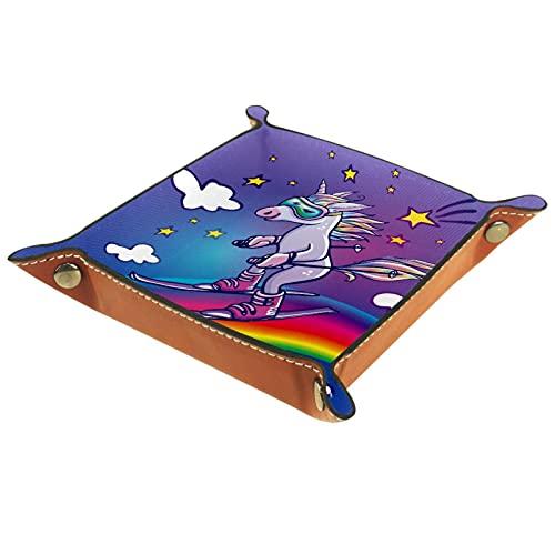 Organizador de cuero con diseño de unicornio divertido para esquiar en el arco iris, llaves, relojes, caja de almacenamiento de joyas para mesita de noche, escritorio, cocina, oficina