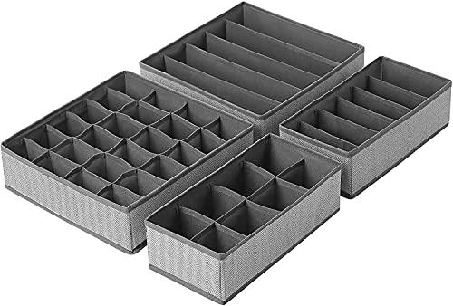 Caja de Almacenamiento Plegable para Cajones, 4 Organizadores de Cajones de Tela, Clasificador Cajones, para Sujetadores, Calcetines, Bufandas, Corbata y Pañuelos --Gris