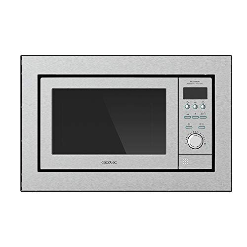 Cecotec Microondas encastrable Digital GrandHeat 2500 Built-In Steel. 900W, Integrable, 25 Litros, Grill, 10 funciones preconfiguradas, Multicooking, Quick Start