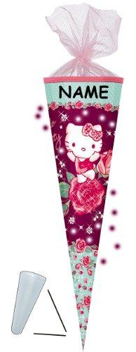 alles-meine.de GmbH personalisierte 3D LED Licht & Leucht - Schleife - passend für 3-D Schultüte - Hello Kitty - mit Glitzer + Organzaborte - 70 / 85 cm - incl. Namen - mit / OHN..