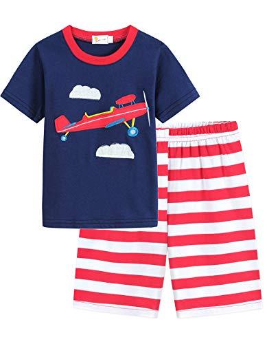 EULLA Pijama infantil de manga corta de algodón, talla 92 – 122 5-Navy Avion 24 meses