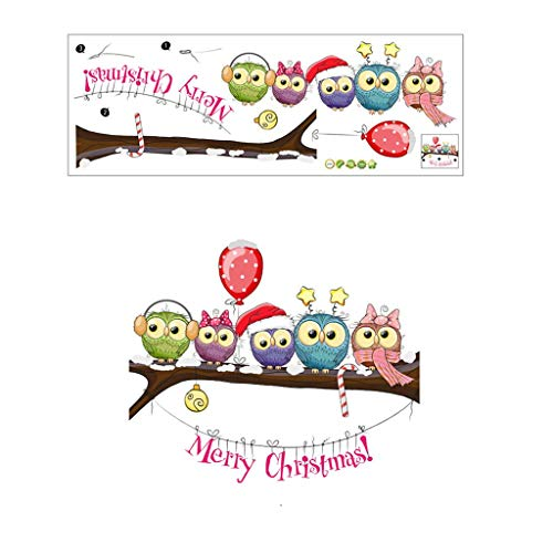 Christmas-Dressed Owl On A Tree Branch Wall Stickers Wall Window Christmas