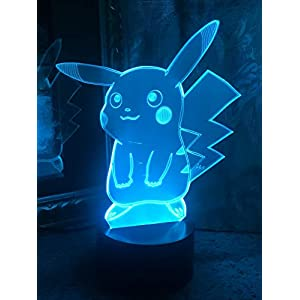 JYNHOOR 3D Night Light (Pikachu), 7 Colors Touch Table Table Lamp, 3D Optical Illusion Lights with Acrylic Flat & ABS Base & USB Cabler , as Home Decor and A Best Gift