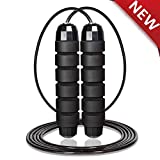 """AQwzh Jump Rope-Free with Ball Bearings Rapid Speed Jump Rope Cable and 6"""" Memory Foam Handles Ideal, Perfect for Aerobic Exercise Like Speed Training,Endurance Training and Fitness Gym (Black)"""