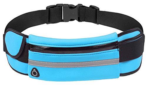 N/C Riñonera para correr – Riñonera impermeable para senderismo Fitness – Bolsa de correr ajustable para una variedad de teléfonos iPhone (Azure)