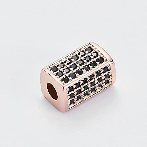 sdfpj 10pc Fabulosos Perlas espaciadoras rectangulares para Pulseras de los Hombres Cobre cúbico Zirconia Perlas Bricolaje Joyas Haciendo Cuentas al por Mayor (Color : FA001-3-2)