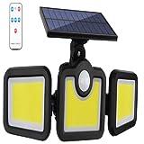 QREZ Luz Solar Exterior, Foco Solar Exterior 171 COB con Sensor...