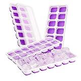 TOPELEK 14-Fach Eiswürfelform 4er Pack Silikon Eiswuerfel Mit Deckel Ice Tray Ice Cube, Kühl Aufbewahren, LFGB Zertifiziert, Lila ( 4er pack )