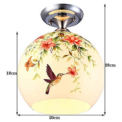 N / A Chinesische Gartenhaus Glas Deckenleuchte Vogel Blume Gang Lampe Eingangshalle Beleuchtung Toilette Balkon Lampe (Farbe: groß)