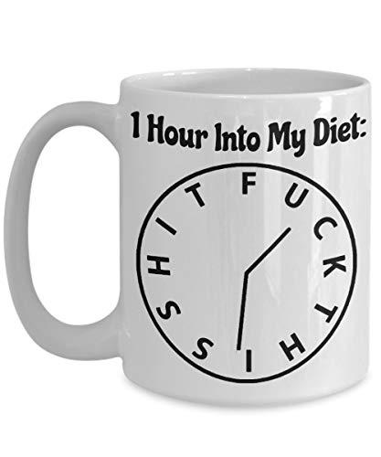Porcelain Cup Diet Weight Loss Goals 1 Hora En El Reloj Taza De Café Divertida Taza De Porcelana Familiar 330Ml Taza De Cerámica Unisex Compañero De Trabajo De Moda Amigos Para Té