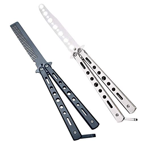 WAYDA Butterfly Knife, Balisong Knife Trainer, Practice Steel Metal Folding Knife Unsharpened Blade, Csgo Butterfly Knife - 2 Pack