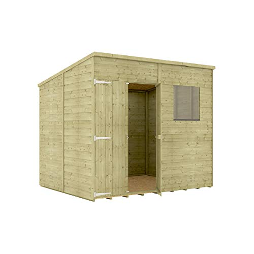 Project Timber 8 x 6 Pressure Treated Hobbyist Pent Shed Tongue & Groove Shiplap Cladding Construction Offset Door OSB Floor Wooden Garden Shed 2.43m x 1.82m