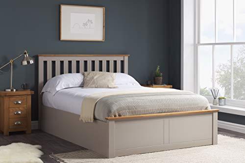Birlea Phoenix 5ft Kingsize Ottoman Bed, Pearl Grey, oak, King