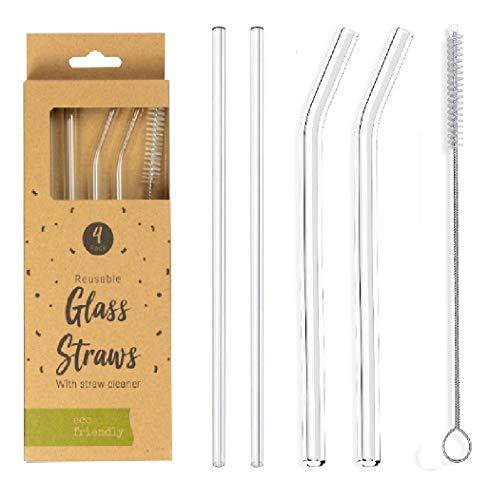 DFL - Cannucce in vetro riutilizzabili ecologiche, confezione da 4 cannucce dritte e curve con spazzola per la pulizia della cannuccia inclusa, ideali per frullati e frullati