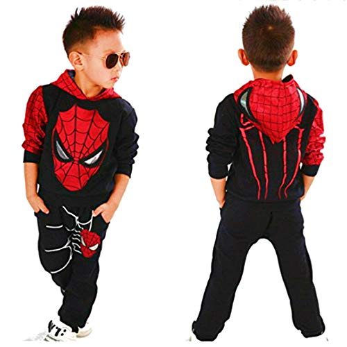Hoodie and Pants Superhero Set (4-5 Years, Black Spiderman 2)