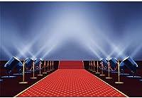 APAN7x5ftビニールレッドカーペット、スポットライトの背景写真撮影ステージ通路ロープバリアシャイニングライト付き写真の背景女性大人のポートレート壁紙パーティーの装飾写真撮影スタジオの小道具