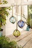 3er Set Deko-Glaskugeln im Fischernetz, blau, türkis, grün, maritim
