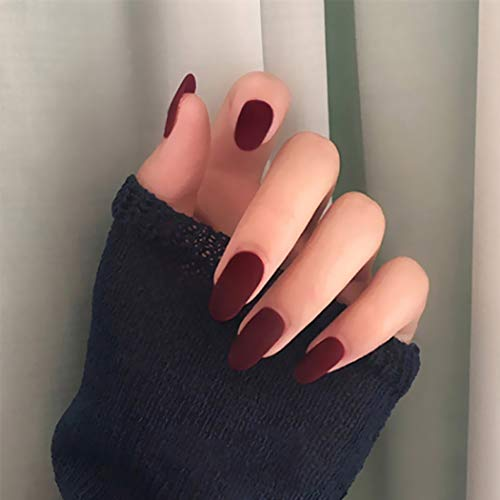 Aiyuan Red Burgundy Press On Nails Almond Shape False Nails Full Cover Nails Acrylic Nails Instant Artificials Matte Long Fake Nails Stick on Nails for Women and Teens Girls (24Pcs)
