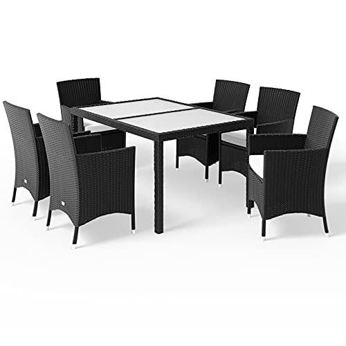 Deuba Casaria Conjunto de jardín de poliratán Set de Muebles Exterior 1 Mesa y 6 sillas apilables cojín