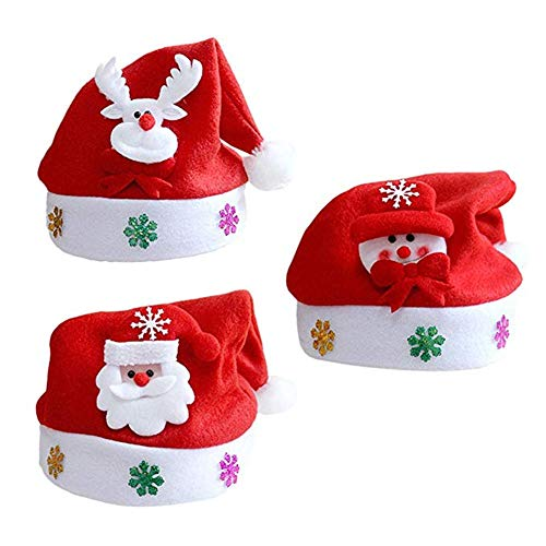 Suneast 3pz cappelli di Natale cappello Babbo rosso morbido Xmas Fancy Dress costume party cappello per adulti unisex–Babbo Natale Snowman Deer–29* 37cm 25*30cm Kids - 25*30cm