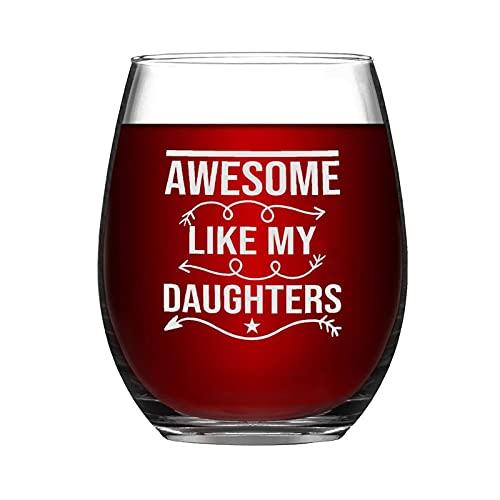You Cant Scare Me I Have Two Daughters Fathers Cote 01) Copa de vino sin tallo, novedad taza de vino de noche ideas para el día de la independencia, día del padre, amiga, mamá, marido, esposa, novia.