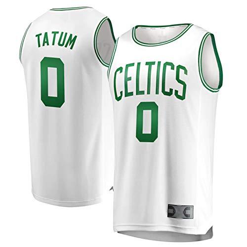 DFGHU Camiseta de baloncesto para hombre Celtic Fashion Sportswear Tatum Player Jersey #0 Blanco, blanco, XL