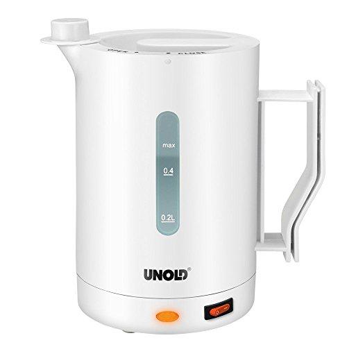 Unold 564158 Hervidor de agua para viajes, 1000 W, 0.5 litros, Plástico, Blanco
