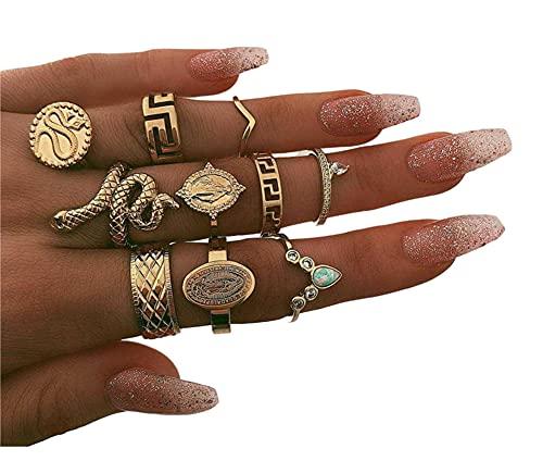 RXSHOUSH Juego de 10 anillos de oro vintage para mujer con estatua de Buda, diamante serpentino, anillo de aleación galvanoplastia