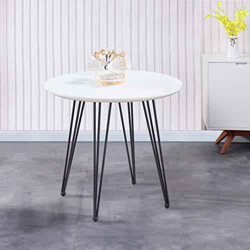 GOLDFAN Esstisch Weiß Küchentisch Modern Klein Wohnzimmertisch Rund Matt Desktop mit Schwarz Beine für Büro Küche 80x80x75cm
