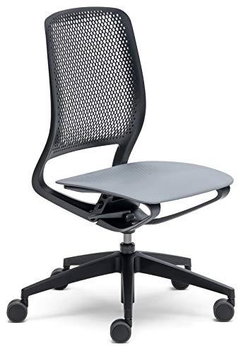 Bümö sedus semotion, bureaustoel, design, draaistoel, draaistoel, draaistoel, draaistoel grijs/zwart | zonder kussens | zonder armleuningen