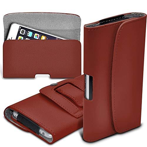 ONX3 Braun horizontale Tasche Kunstleder Gürtel Handytasche Fall Abdeckung mit Magnetverschluss kompatibel mit Oukitel K4000 Lite