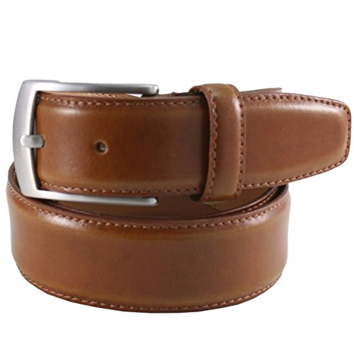Lindenmann Mens leather belt/Mens belt, leather belt curved, cognac, Größe/Size:90, Farbe/Color:beige