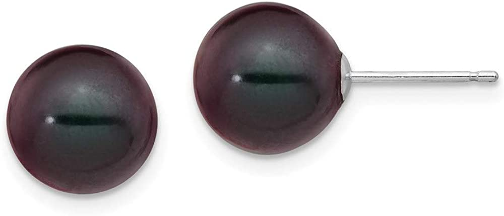14k White Gold 9-10mm Black Round FW Cultured Pearl Stud Post Earrings style XW90PB