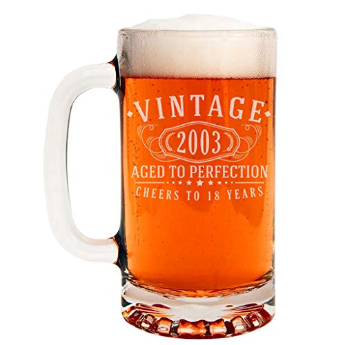 Vintage 2003 Etched 16oz Glass Beer Mug - 18th Birthday Aged to Perfection - 18 Years Old Gifts