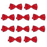 DonDon Set de 10 Pajarita para hombre de 12 x 6 cm ajustable y lista para usar - Cereza