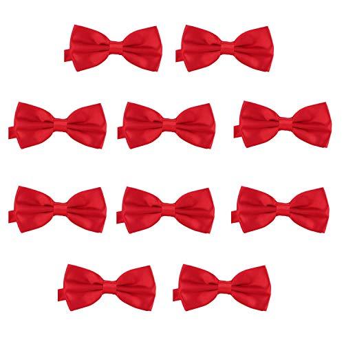 DonDon Set da 10 papillon da uomo 12 x 6 cm già legato e infinitamente regolabile – Rosso ciliegia