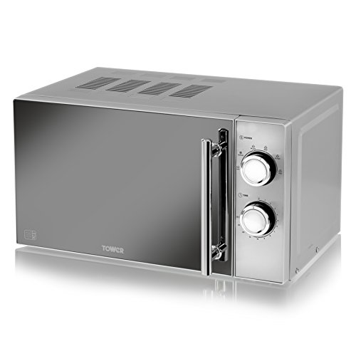 Tower Manual Solo Microwave with 5 Power Levels, 30 Minute Timer, Defrost Function, Stylish Mirrored Door, 800 W, 20 Litre, Silver