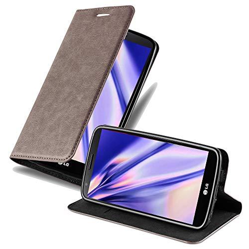 Cadorabo Hülle für LG G2 in Kaffee BRAUN - Handyhülle mit Magnetverschluss, Standfunktion & Kartenfach - Hülle Cover Schutzhülle Etui Tasche Book Klapp Style