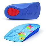 Footlogics Fun Kids Orthotic Shoe Insoles with Arch Support for Children's Heel Pain (Sever's Disease), Growing Pains, Flat Feet - Children's, Pair (Toddler 5-7, 3/4 Length - Blue)